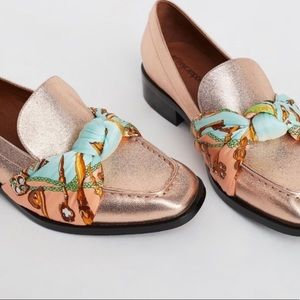 NWOB Jeffrey Campbell Rose Gold Scarf Loafers